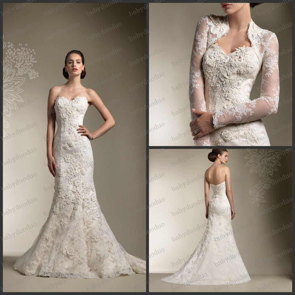 Dressv Ivory Wedding Dress Strapless Long Sleeves Chapel: Strapless Sweetheart Lace Applique Wedding Dresses Chapel