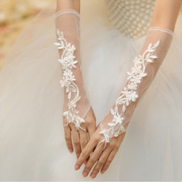 Wholesale Bud Diamond - Hot ivory white Bridal Lace Flower Gloves Diamond Bud silk embroidery Wedding jewelry fingerless gloves