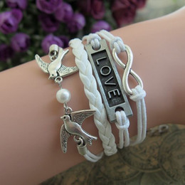 Wholesale Infinity White Pearl Bracelet - new infinity bracelets cuff bangle bird with pearl Charm Bracelet in silver-white Wax Cords and Leather Braid bracelets jewelry hy1000