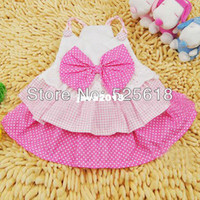 Wholesale Drop Shipping Pet Clothes - New Cute Summer Pink White Pet Dog Puppy Bow Multillayer Princess Dress Clothes Free Shipping&Drop Shipping