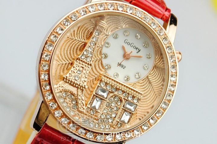 ab422ff442e Compre Luxo Cristal De Diamante França Paris Torre Eiffel Senhora Menina De  Quartzo Vestido De Pulso Relógio Com Alça De Couro Presente Do Dia Dos  Namorados ...