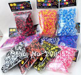 Wholesale Loom Bracelet Kits - New Colorful rainbow loom kits rubble bands for rainbow loom bracelets color random 600pcs free shipping