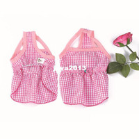 Wholesale Dog Red Costume - Fashion Cute Pet Puppy Dog Clothes Princess Sleeveless Lattice Bow Dress Skirt Apparel Free Shipping & Drop Shipping