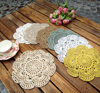 Wholesale doily mats - Free shipping Shabby Chic Vintage Crocheted Doilies 20cm Handmade Crochet Coastet cotton lace cup mat 24pcs Lot