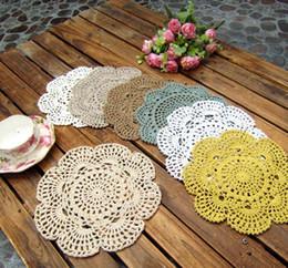Wholesale Free Crochet Doilies - Free shipping Shabby Chic Vintage Crocheted Doilies 20cm Handmade Crochet Coastet cotton lace cup mat 24pcs Lot