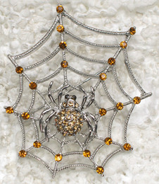 Wholesale Pins Spiders - Wholesale Fashion Brooch Rhinestone Spider Web Halloween Pin brooches & Pendant in 9 colors C101262