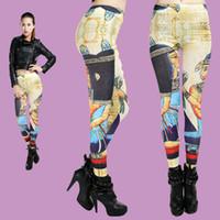 Wholesale Graffiti Legging - New Arrival Fashion Women's Ankle-Length Lenggings Egyptian Queen Graffiti Digital Printed Legging Tight Pants