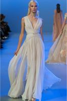 Wholesale Elie Saab Haute - 2015 Elie Saab Haute Coture Formal Evening Dress Deep V Neck Chiffon Strap Empire Waist Fashion Pageant Gown