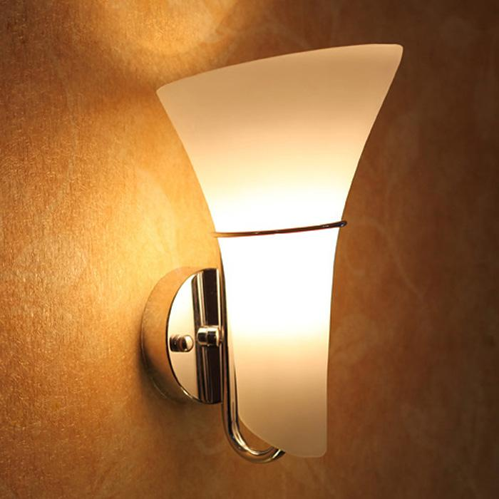 Modern Glass Calla Lily Bedroom Wall Lights Frosted White Glass Lampshade Corridor Bedsides Wall Lamp Fixtures Mirror Front Wall Sconces