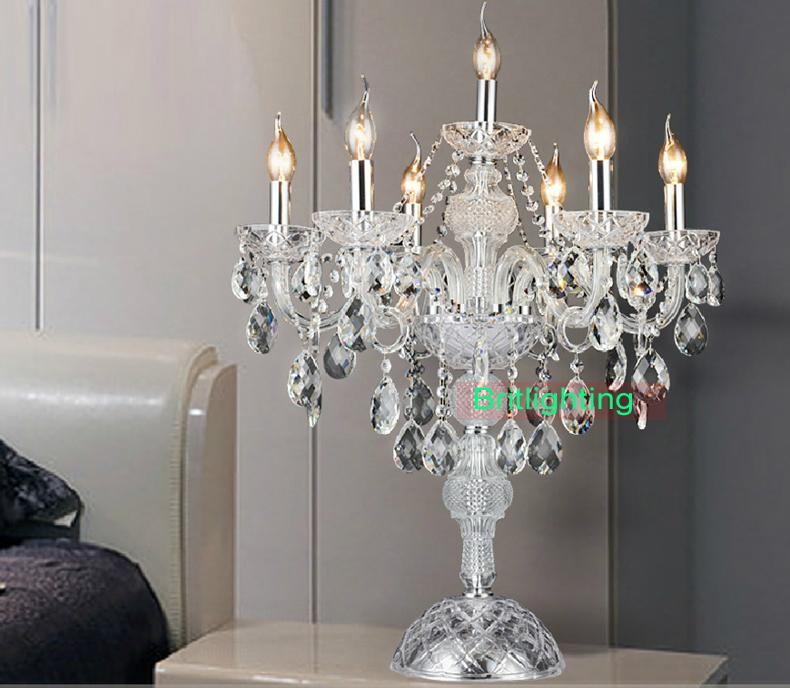 Modern Masa Kristal Şamdan Centerpieces Düğün Cam Arms Kristal Şamdan Can Ajustable Kristal Masa Lambaları Mum Ücretsiz Kargo