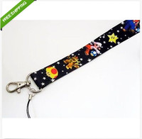 Wholesale Super Mario Key Chain - Hot 20pcs new Super Mario Black LANYARD mobile phone chain KEYS ID card Neck straps