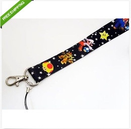Wholesale Key Chain Lanyard Black - Hot 20pcs new Super Mario Black LANYARD mobile phone chain KEYS ID card Neck straps