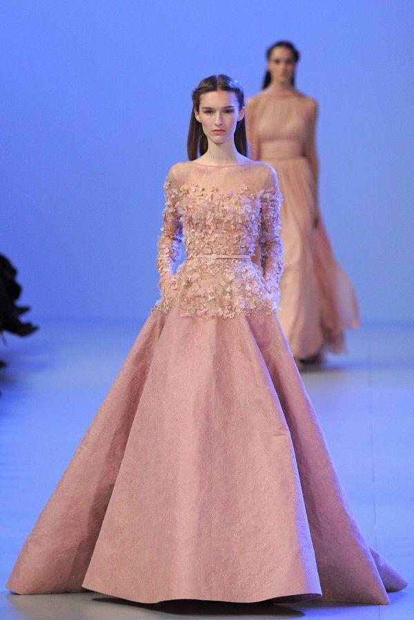 Großhandel Elie Saab Haute Couture 2014 Schiere Illusion Neck ...