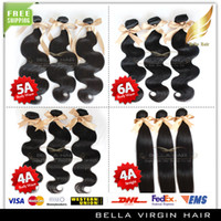Wholesale 4a Human Hair Weave - 4A 5A 6A Peruvian Human Hair Virgin Human Hair Extensions Natural Color Straight or Body Wave 3 pcs lot Hair Weft Your Choice !