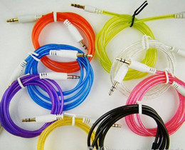 Wholesale Double Layer Cable - 500pcs 1M Double Layer 3.5mm Male to Male Stereo Aux car Audio Cable for iPhone iPod MP3