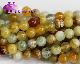 "Wholesale Yellow Jade Beads Bracelet - Wholesale Natural Genuine Yellow Green Rainbow nephrite Jade Round Loose Stone Beads 3-18mm Fit Jewelry Necklaces or Bracelets 15"" 03459"