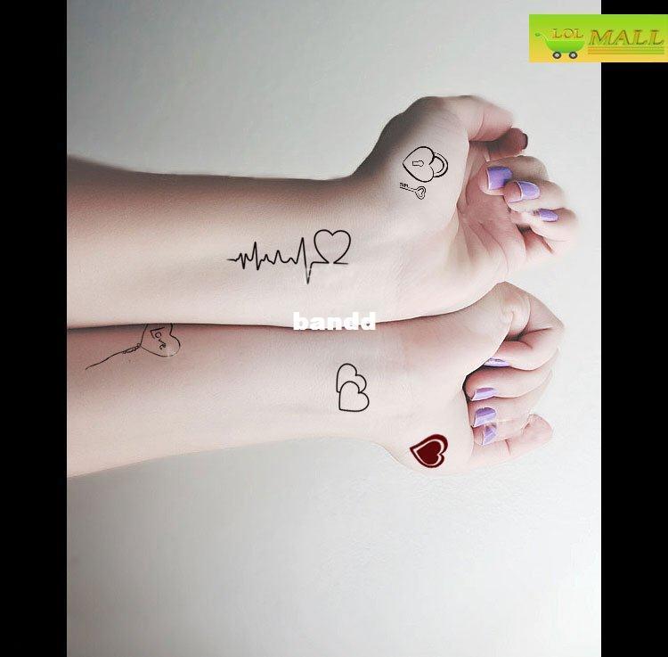 Latidos Del Corazón Dulce Tatuaje Temporal A Prueba De Agua