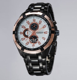 Wholesale Butterfly Digital - 2015 curren men sport watch fine embed steel tachymeter case multi-subdial deco dial stainless steel band military watch