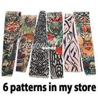Wholesale Temporary Tattoo Sleeves Stretchy - 6pcs lot Nylon Stretchy Fake Temporary Tattoo Sleeves Fashion Art Arm Stockings Free Shipping