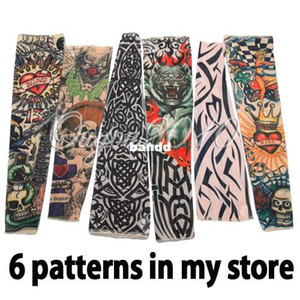 Wholesale 6pcs Nylon Stretchy Fake Temporary Tattoo Sleeves Fashion Art Arm Stockings
