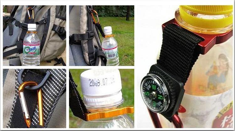 Vendita a buon mercato Multifunzionale Moschettone portachiavi Kettle catena con bussola Escursionismo Sport all'aria aperta Forniture da campeggio spedizione gratuita