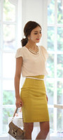Wholesale White Tight Polyester Skirt - summer Korean Fashion High-cut Tight Women Skirt Hip Wrap A-line Dress OL Dress Solid 4 Color 5 Size Mixed Batch