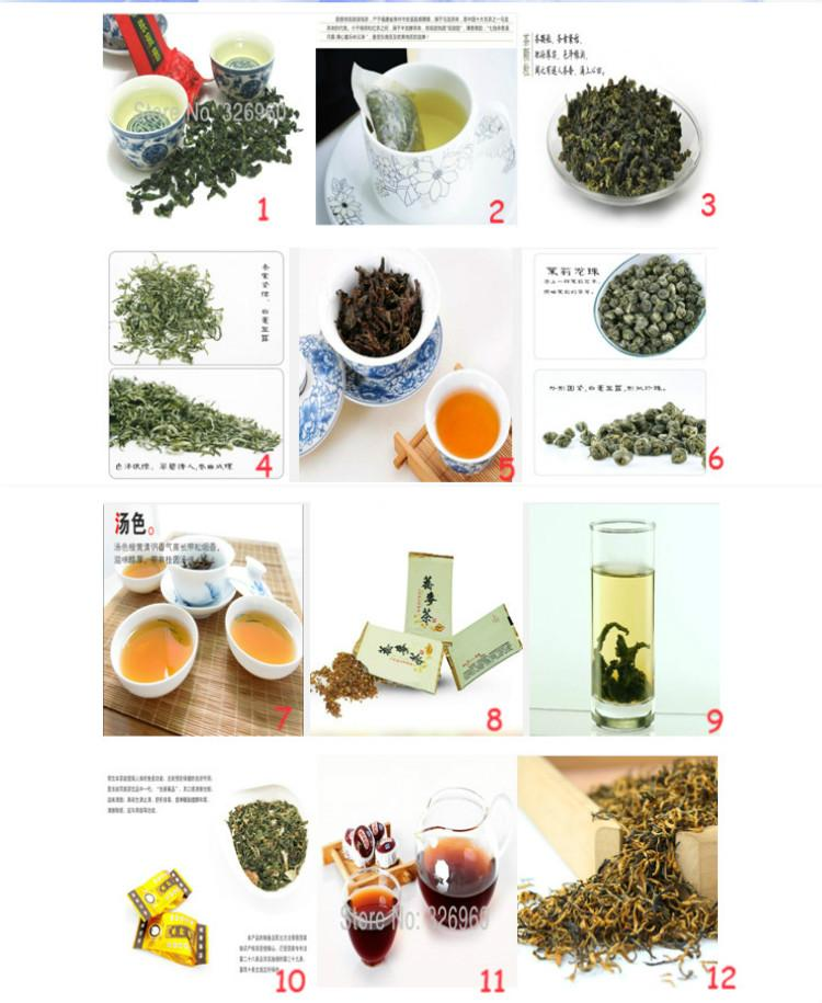 Súper popular! 24 Bolsas de China TOP marca de té, incluyendo Negro / Verde / té de jazmín, Puer, Oolong, Tieguanyin, Dahongpao