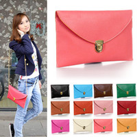 Wholesale Envelope Purse Chain Hands - Free shipping! 2016 new Womens Envelope Clutch Chain Purse Lady Handbag Tote Shoulder Hand Bag 14 colors