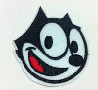 apliques de hierro gato al por mayor-Al por mayor ~ 10 piezas de dibujos animados Parche Felix The Cat (6.5 x 7.5 cm) de hierro bordado en Applique Patch (WW)