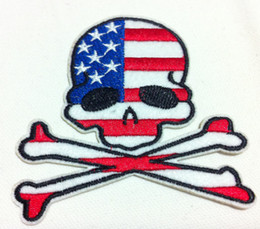 Wholesale Iron Patches Badge Flag - Wholesales~10 Pieces USA Flag Skull Badge (9 x 8cm) Punk Patch Embroidered Iron On Applique Patch (WW)
