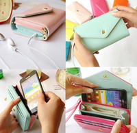 Wholesale Envelope Wallet For Iphone - Universal Envelope Card Coin Wallet Crown PU Leather Handbag Case Bag for Samsung Galaxy S3 S4 S5 S6 Note 2 3 iPhone 4 5 6 Plus HTC Nokia