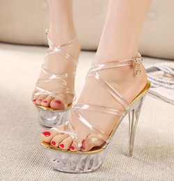 Wholesale Silver Strappy Wedding High Heels - silver gold rivets high platform crystal heels ankle strappy fashion ladies sandals ePacket shipping