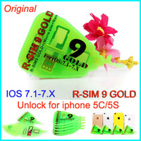 Wholesale Rsim Gold - Original R-SIM 9 pro gold R SIM 9 RSIM 9 GOLD golden RSIM9 GOLD Unlock card for iphone 5 5C 5S IOS 7.1-7.X IOS 7.1 ATT T-MOBILE