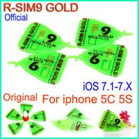 Wholesale Rsim Gold - Original RSim 9 gold R SIM R-SIM 9 Gold Pro rsim9 golden Unlock Card (micro silm+ nano) For IOS 7.1- 7.x ios7.1 AUTO Unlock iphone 5S 5C ATT
