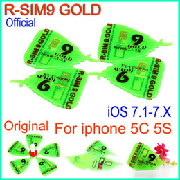 Wholesale Rsim Gold - Original RSim 9 gold R SIM R-SIM 9 Gold Pro rsim9 golden Unlock Card (micro silm+ nano) For IOS 7.1- 7.x ios7.1 AUTO Unlock iphone 5S 5C ATT