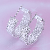 Wholesale Silver Earings Free Shipping - 925 Sterling Silver Jewelry Earings +gift box bag Brand New free shipping e082