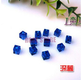 Wholesale Crystal Cube Beads 6mm - Free Shipping 1000pcs Lot, Top Quality 6mm Dark Royal Blue Crystal Faceted Cube Beads Wholesale