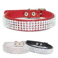 Wholesale Croc Red - S5Q Croc Dog Cat Rhinestone Collars Crystal Diamond Pet Puppy PU Leather Collars AAADAB