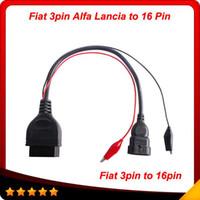 Wholesale Obd2 Alfa Romeo - FIAT Lancia Alfa Romeo 3 Pin 3Pin Male to OBD OBD2 OBDII DLC 16 Pin 16Pin Female Car Diagnostic Tool free shipping