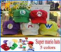 Wholesale Mario Wario Caps - Super Mario Bros Anime Cosplay Hat red white Mario green Luigi yellow Wario Purple Wario 50pcs lot