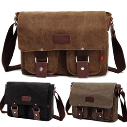 Wholesale Military School Bags - S5Q Men's Vintage Canvas School Satchel Military Laptop Shoulder Messenger Bag AAADBY