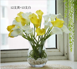 Wholesale Egyptian Calla Lily - Wholesale - 100pcs 35cm Elegant Silicon Artificial Simulation Egyptian Calla Lily Alocasia Plumbea Flower for Wedding Bridal centerpieces De