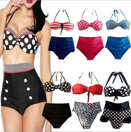 Wholesale Rockabilly Bikini - RETRO Pinup Rockabilly Vintage High Waist Bikinis Set Swimsuit Swimwear Bathing Suit