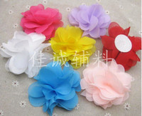 "Wholesale Chiffon Round Flower - 10pcs 3"" MIxed Chiffon flower With Round Felt Circles Pads Crafts Adding Hair Clips Corsage"