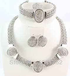 Wholesale Vintage Clear Rhinestone Necklaces - Free Shipping Fashion Set Silver Plated Vintage Clear Rhinestone Necklace Set 4Pcs Top Quality Gold PlatedJewelry Sets for Women