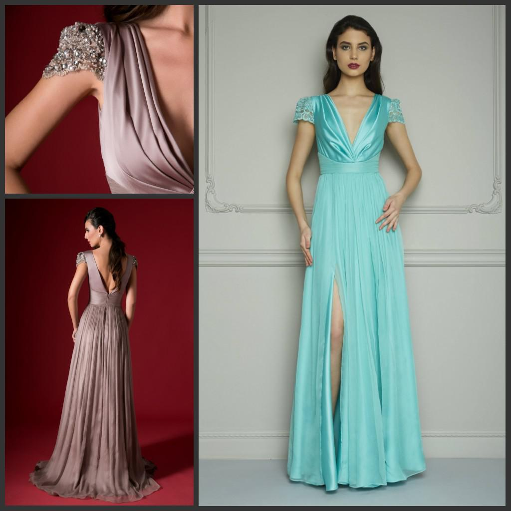 Tiffany Blue V Neck Beads Prom Dresses High Low Short Sleeves Sheath ...