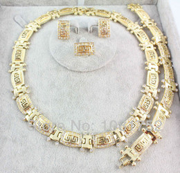 Wholesale jewellry rings - Free shipping 2014 fashion trendy rhinestone necklace earring ring and bracelet african 18K gold plated jewellry set for women