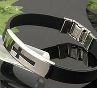 Wholesale Silicone Bracelet Energy New - NEW wholesale 10pcs Energy silicone stainless cross bracelet Bracelet stainless bracelet