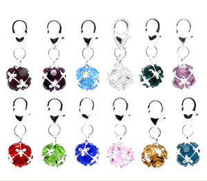 birthstones achat en gros de-news_sitemap_home50PSC Mixed Birthstone Clip On Charms Fit Bracelet de chaîne