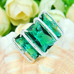 Wholesale Emerald 925 - Unique Mens Womens ring heavy Three Emerald solid 925 Sterling Silver Green Amethyst Prasiolite Gemstone Wedding Rings